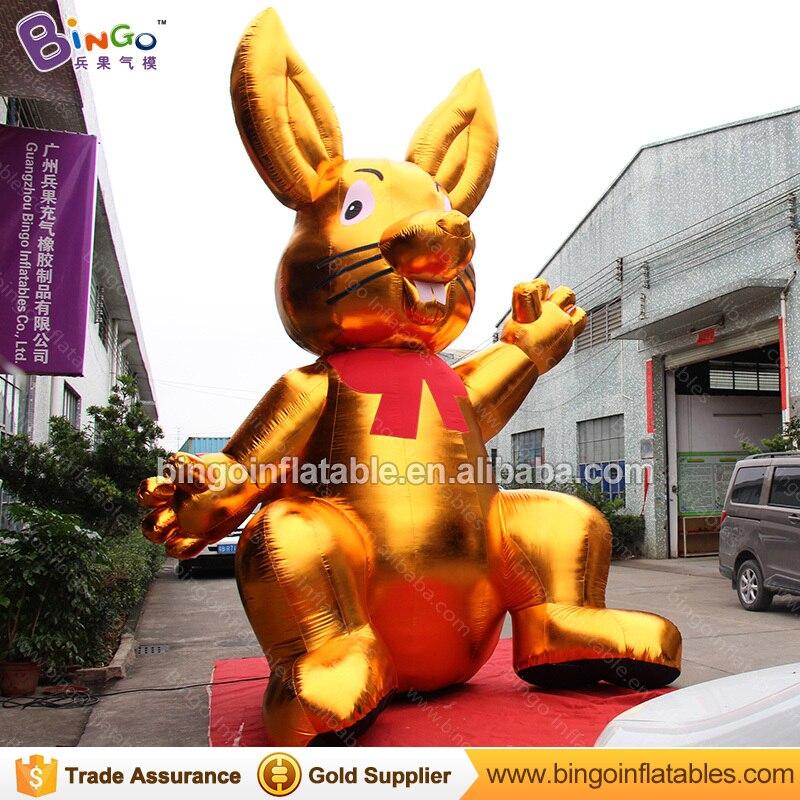 Декоративные 5 метров высокий большой надувной Золотой Кролик индивидуальные цифровой печати гигантский надувной заяц распродажа игрушка ... - 2