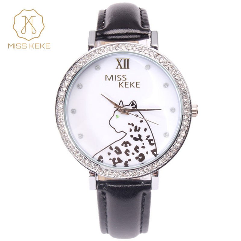 Miss Keke Designer Watches 2016 New Clay Cute 3d Mini World Rhinestone Watch Leopard Ladies Leather Wristwatches 1344