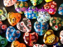 OMH wholesale free ship 8mm 12mm 100pcs mixed flowers millefiori heart glass beads ZL557(China)