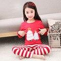 Niños Pijamas de Navidad 2016 Nuevo Ocio Hogar Infantil de Dibujos Animados Trajes de Servicio, Boys & Girls Algodón de manga Larga Pajamas3-14y