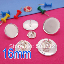 Silver plated 16mm bezel blank metal butterfly clip and pins back suitable to brooches collar clips lead and nickle free недорого