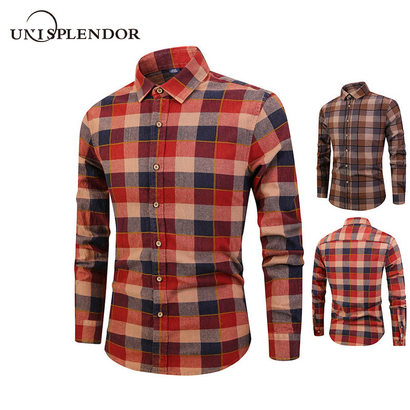 Men's Clothing Shirts 2019 100%cotton Mens Clothing Casual Men Plaid Shirts Spring Autumn Man Shirt Long Sleeve New Fashion Soft Mens Shirts Yn10431 Quality And Quantity Assured