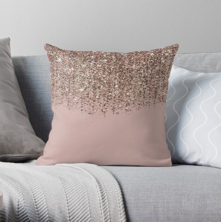 Blush Pink Rose Gold Bronze Cascading Glitter Texture Printed Pillow Covers Cases Nordic Cover Cushion Pillowcase Square Print