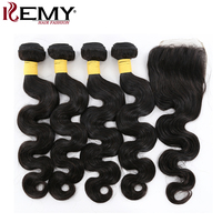 KEMY HAIR Pre Colored Human Hair Weave Bundles With 4 4 Closure Remy Brazilian Hair 3