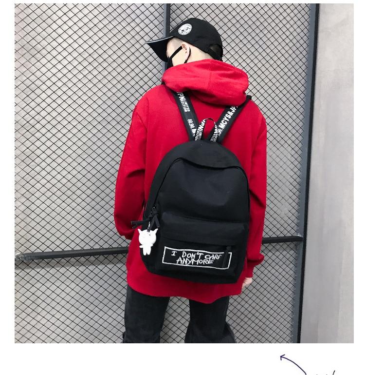 HTB1ur07aMKG3KVjSZFLq6yMvXXaH 2019 New Backpack Fashion Canvas Women Backpack Doll Pendant Travel Women Shoulder Bag Harajuku Backpack Female Mochila Bagpack