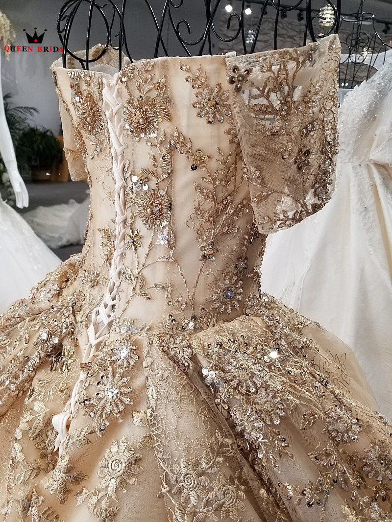 Купить с кэшбэком Ball Gown Fluffy Wedding Dresses Gold Lace Crystal Beaded Luxury Wedding Gowns Bridal Gown 2020 New 100% Real Photos WD01
