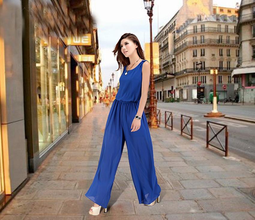 Chiffon Lace Jumpsuits mono mujer largo casual body suits for women combinaison pantalon femme elegante Wide leg pants 5
