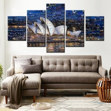 Full Square 5D Diy Diamond Painting 5pcsVisual Illusion Sydney Drill Embroidery Cross-Stitch Mosaic icons Rural view Z1017