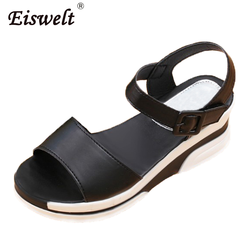 EISWELT Women Summer Shoes Platform Sandals Soft Leather Casual Shoes Open Toe Gladiator Wedges Trifle Mujer Flats#ZQS003 2017 summer shoes woman platform sandals women soft leather casual open toe gladiator wedges trifle mujer women shoes b2792
