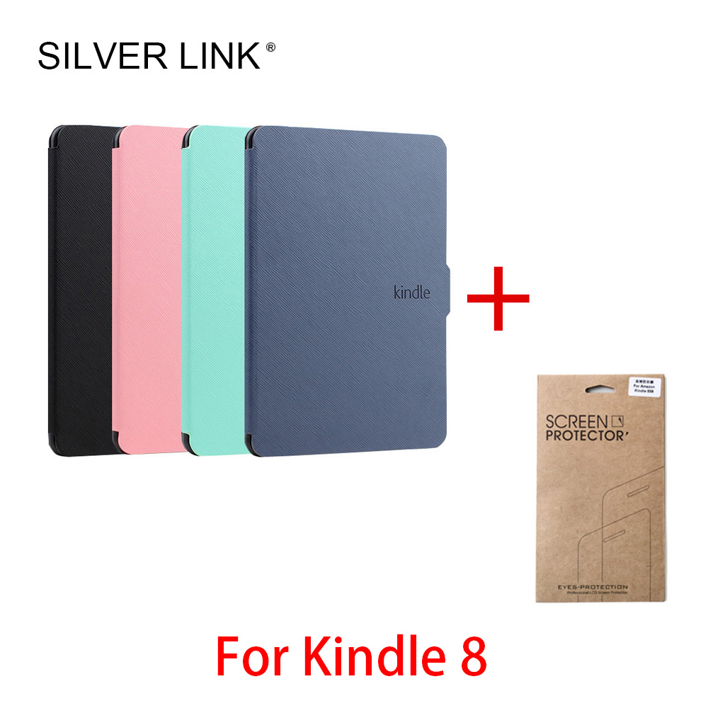 SILVER LINK Kindle 8 Generation Smart Case With Screen Protector Film For Amazon E-reader Ebook Cover Auto Sleep/Wake Shell crystal clear lcd screen protector film cover for ipegtop z26 smart phone