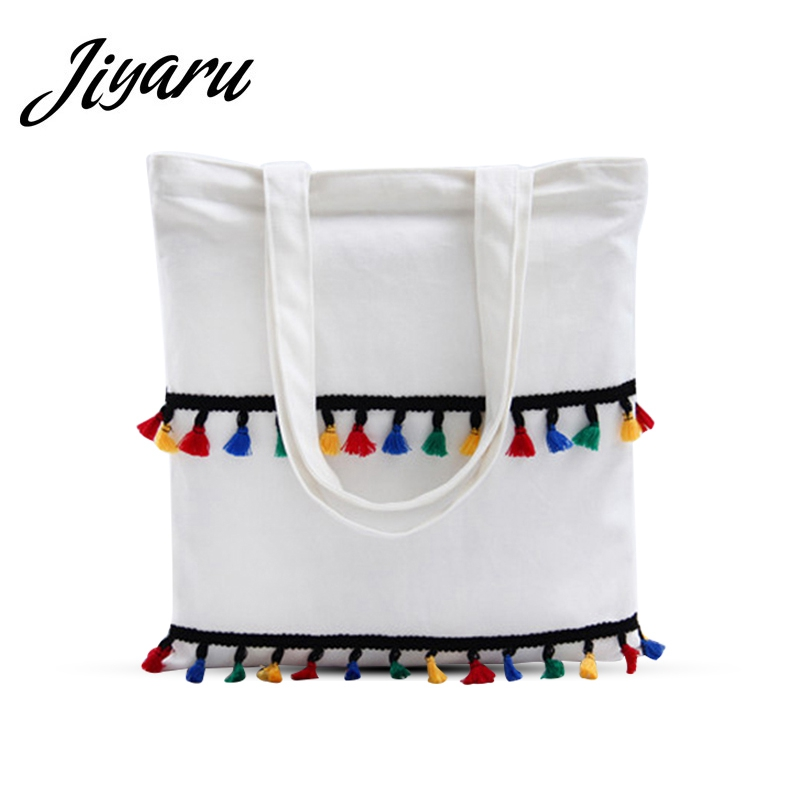 Color Tassels Decorations Women Canvas Shoulder Bags Casual Beach HandBags Eco Shopping Bags Canvas Tote for Female Storage Bag