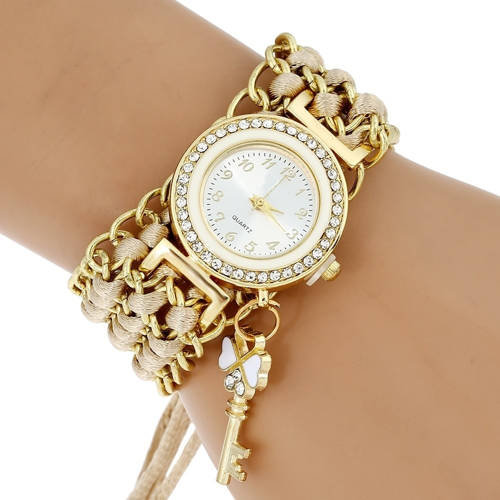 Top Lace Watch Women Fashion Golden Chain Key Charm Rhinestone Wristwatch Girl Bracelet Quartz