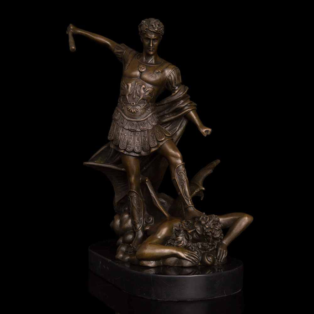 ATLIE BRONZES Classical St. Michael The Archangel Statue With Stick Bronze Roman Catholic Angel Miguel Sculpture Decoration