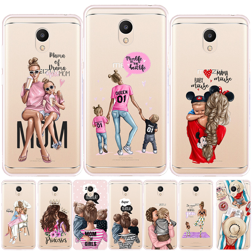 Black Brown Hair Baby Mom Girl Soft <font><b>TPU</b></font> <font><b>Case</b></font> Cover For <font><b>Meizu</b></font> M3 Note M6 Note M6S M5S M5C <font><b>M6T</b></font> Pro 7 Plus 15 Plus Silicon Capa image