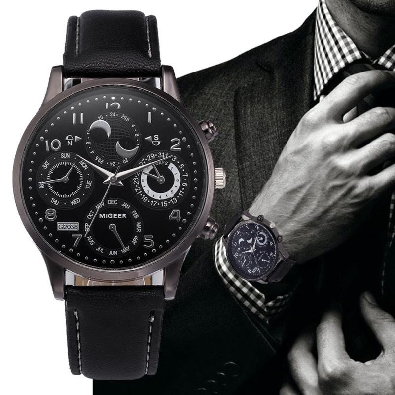 Personality Design Watches Men Fashion Calendar erkek kol saati Luxury Male Leather Clock Quartz Watch relogio masculino #D 2018 fashion watch men retro design leather band analog alloy quartz wrist watch erkek kol saati