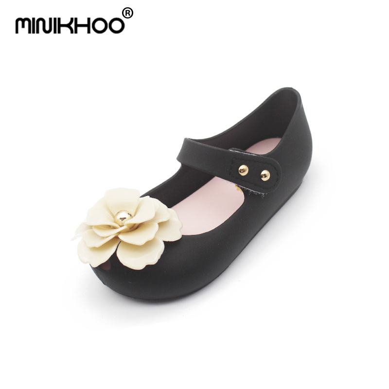 Mini Melissa 3D Camellia Flower Girl Jelly Sandals 2018 New Children Sandals Girl Princess Shoes Melissa Jelly Sandals Non-slip