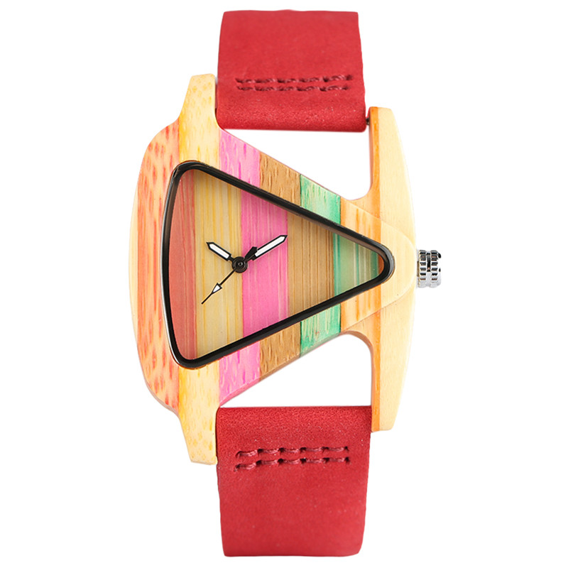 цена на Elegant Trendy Ladies Creative Hand-made Colorful Wooden Bamboo Quartz Watch Genuine Leather Watchband Unique Watch for Female