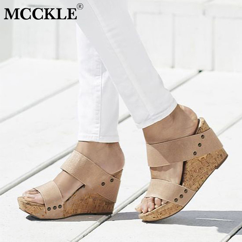 MCCKLE Plus Size Platform Wedges Summer Women Sandals Slip On High Heels For Female Fashion Retro Woman Casual Shoes bohemia plus size 34 41 new fashion wedges sandals slip on elastic band casual platform shoes woman summer lady shoes shallow