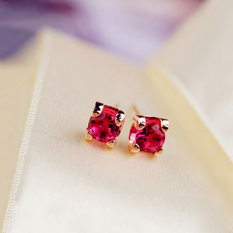 Fashion Sweet Cute Simple Red Small Single Cz Stone Earrings Rose Gold Color Kids Children