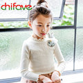 Cute Kids Girls Full Length Sleeve T-shirt Cotton Spring Rabbit Decoration Children Girls Clothes Hemming Tees Bottoming Shirt