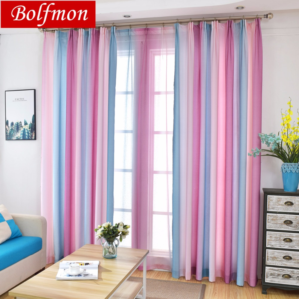 Colorful Living Room Curtains: Colorful Rainbow Beautiful Semi Blackout Window Treatments