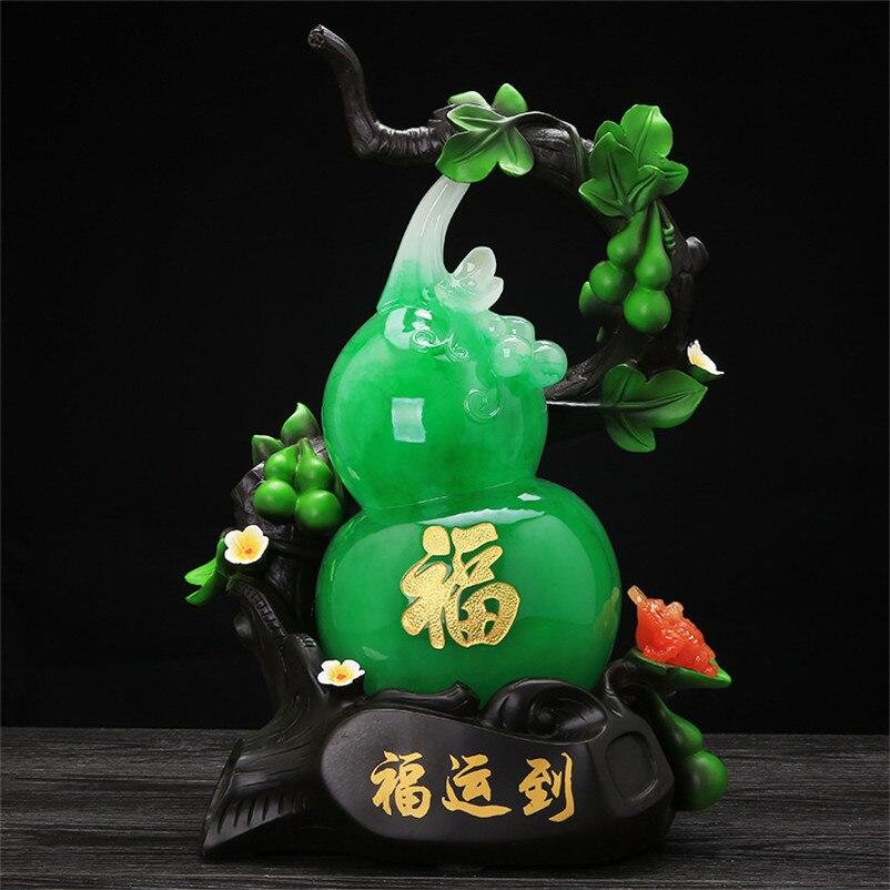 Busniess Gifts Gourd Figurine Office Home Decoration Accessories Ornaments Best Wishes Gourd Sculpture Miniature Garden Crafts