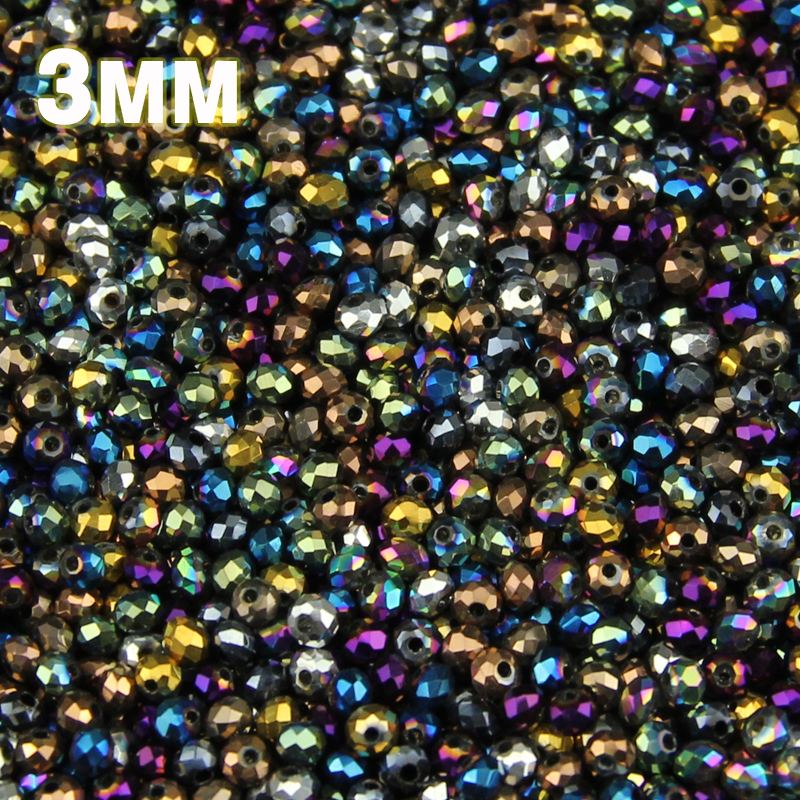 JHNBY 3mm 200pcs Flat Round Shape Austrian Crystals Loose Beads Plating Color Ball Supply Bracelet Necklace Jewelry Making DIY