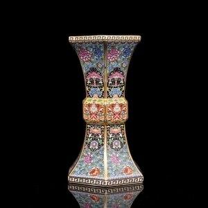 Image 3 - Эмалированная Золотая Шестигранная ваза династии цианлонг, антикварная фарфоровая коллекция античного фарфора