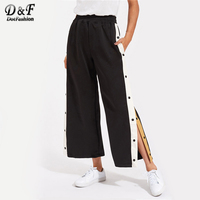 Dotfashion Contrast Snap Button Side Culotte Pants 2017 Elastic Waist Cropped Trousers Ladies Mid Waist Wide Leg Pants