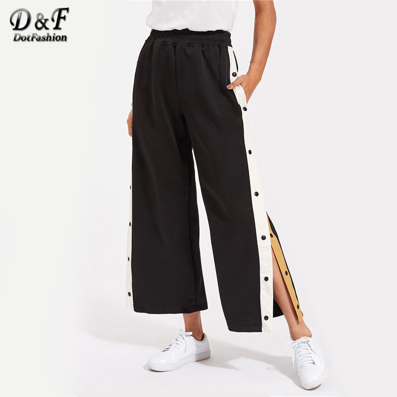Dotfashion Contrast Snap Button Side Culotte   Pants   2018 Elastic Waist Cropped Trousers Ladies Mid Waist   Wide     Leg     Pants