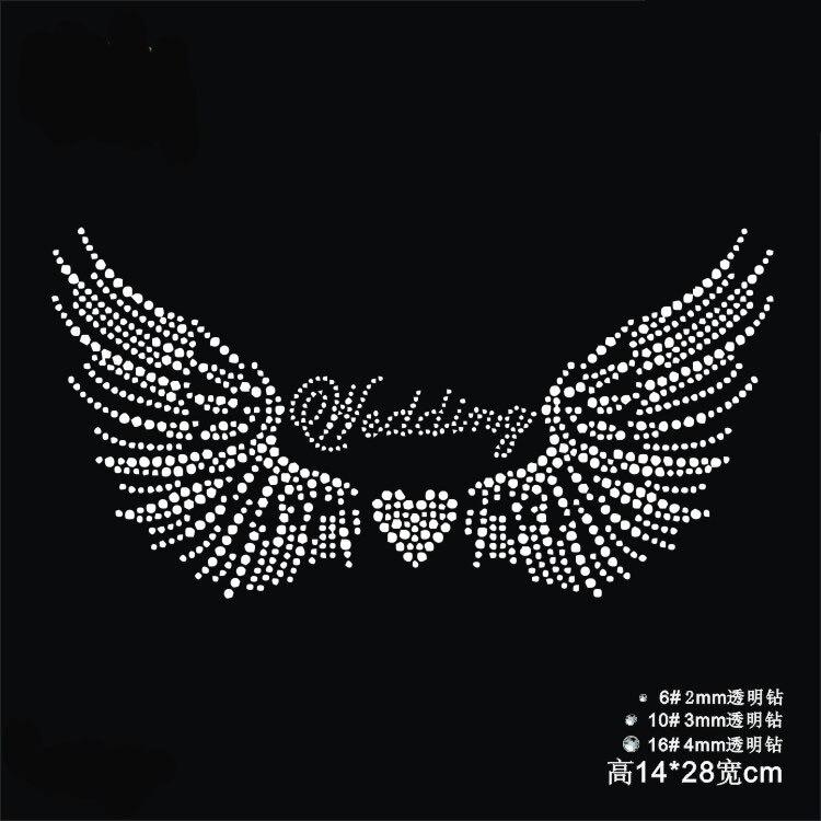 FS(2pc/lot) Wedding wings design motif designs iron on transfer hot fix rhinestone motifs transfers