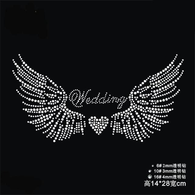 2pc lot Wedding wings heart patches hot fix rhinestone transfer motifs iron  on transfers motif for bag shirt a6654c6f05fc