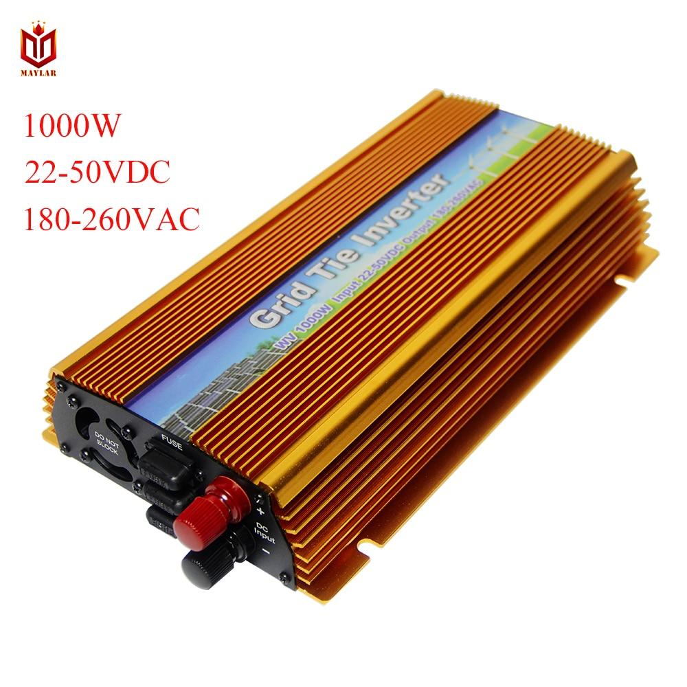 MAYLAR@ 22-50VDC 1000W Solar Grid Tie Inverter with MPPT PV on Grid Inverter, Output 180-260V.50hz/60hz, For Alternative Energy grid on tie inverter 1000w 12v 24v solar panel system dc output 90 130v 190 260v with mppt function