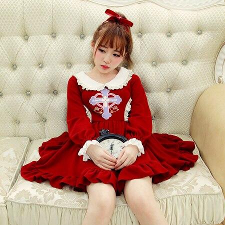 Kadın Giyim'ten Elbiseler'de Prenses tatlı lolita elbise BoBON21 Orijinal kış elbise Vintage çapraz Karşı saldırı melek Bebek getirdi örgü elbise D1274'da  Grup 1