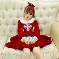 Princesa vestido lolita doce BoBON21 Originais vestido Do inverno Do Vintage cruz Contra ataque anjo Boneca trouxe vestido de tricô D1274