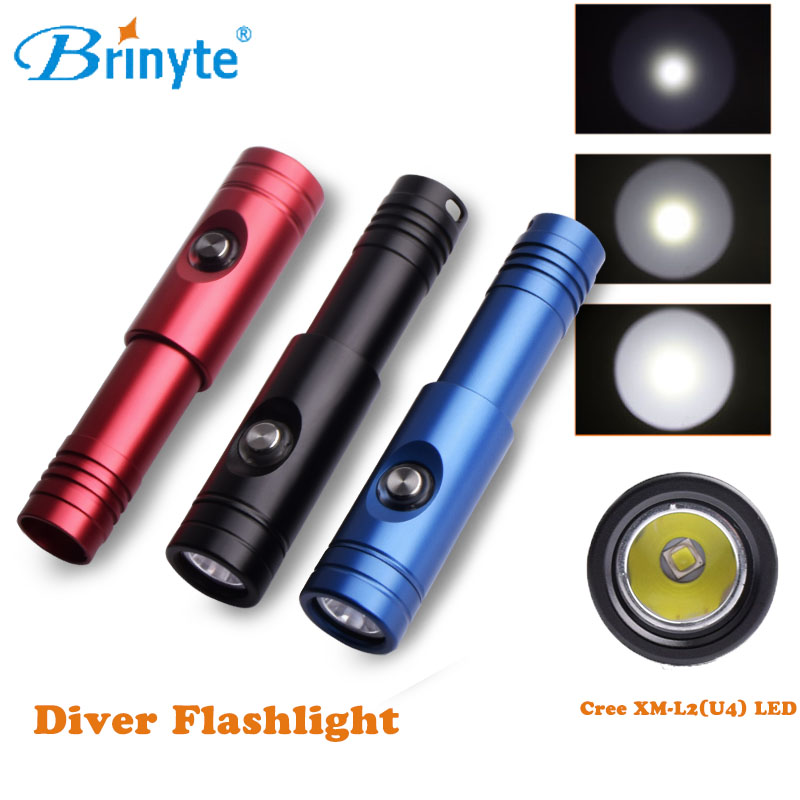 Brinyte DIV12S Rechargeable Diving Flashlight Scuba Torch 18650 Cree XM-L2 U4 LED Portable Waterproof Underwater Cave Dive Torch ru zk30 cree xm l2 diving led flashlight 5000lm zoomable torch lantern dive waterproof underwater 120m military grade flashlight