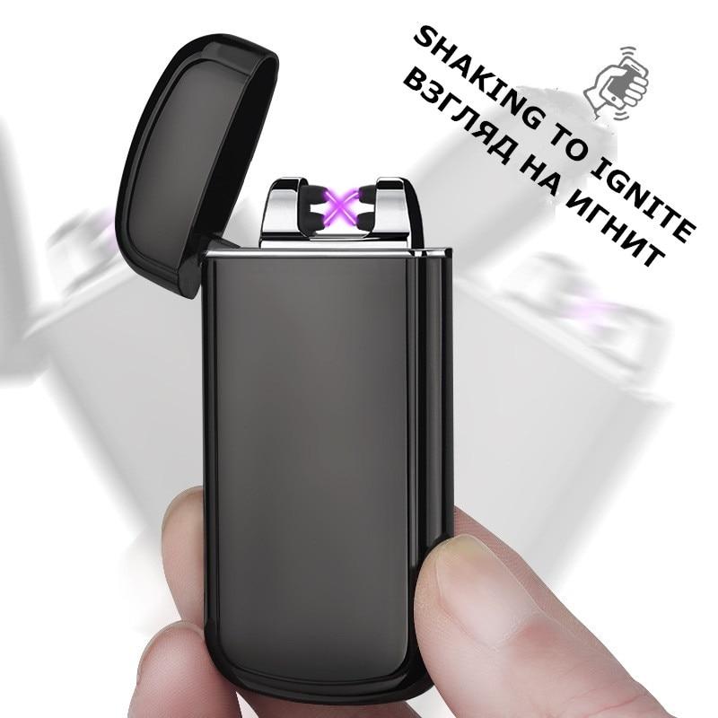 Secouer pour feu USB allume-cigare super mince Arc Plasma briquet Sans Flamme Coupe-Vent Électrique Briquets Fumeurs Accessoires