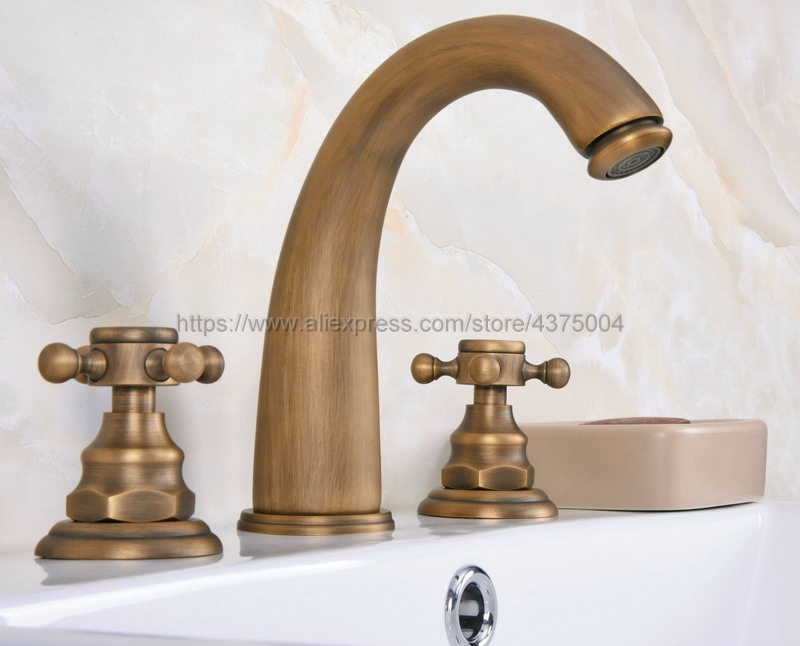 все цены на Bathroom Basin Faucet Antique Brass Bathroom Basin Mixer Tap Sink Faucet Double Handles 3 Hole Bathroom Basin Faucet Nan077