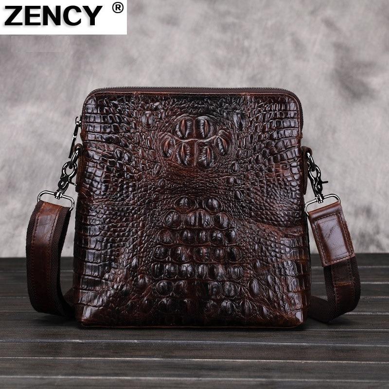 ZENCY Classic Genuine Leather Famous Brand Alligator Pattern Men Shoulder Messenger Bags Crossbody Bag Men Leather Handbag 247 classic leather