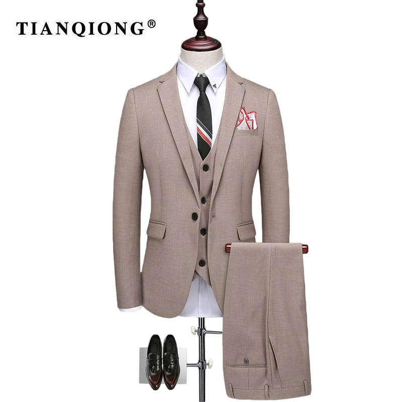 TIAN QIONG Slim Fit Men Suits For Wedding One Button Gray, khaki Mens Formal Suits Spring Autumn 3 Piece Suit QT205
