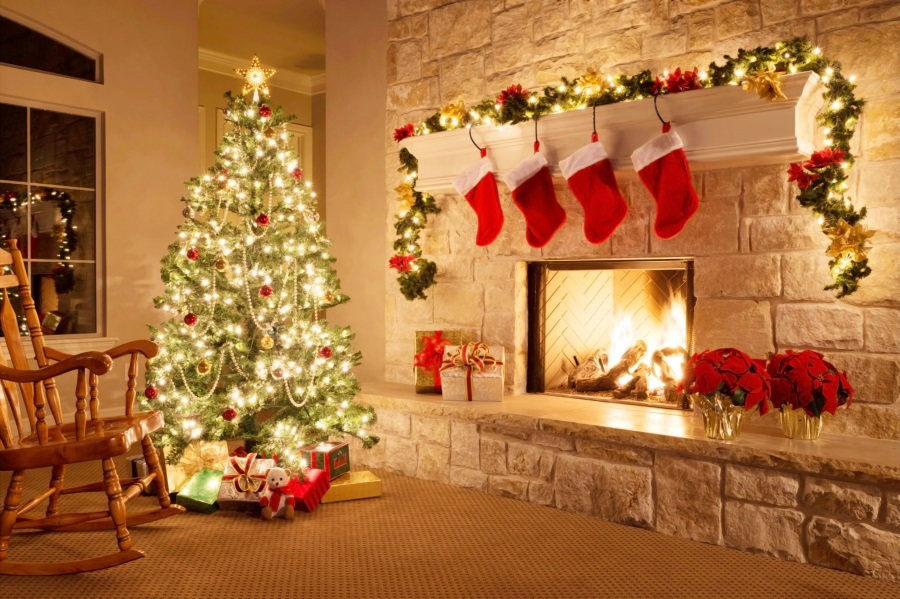 Fireplace Christmas.Laeacco Christmas Tree Fireplace Stockings Chair Photography Backgrounds Customized Photographic Backdrops For Photo Studio