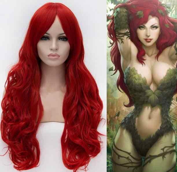 Парик Бэтмен Ядовитый плющ Косплэй парики длинные волнистые красные Для женщин девушки Cos волосы парик Бесплатная доставка