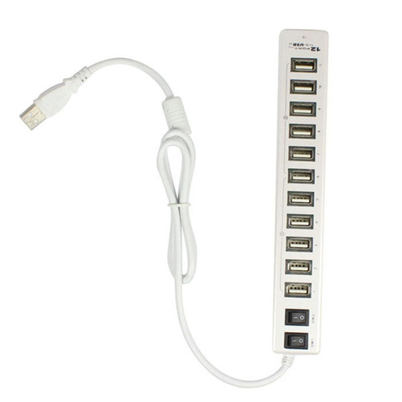 New 12 Ports High Speed 2-ON / OFF Sharing Switch USB2.0 HUB For Laptop PC Notebook For Mac A9