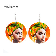 60cm Africa Wood Black African Queen Native Girl Egyptian Earring Bollywood Vintage Bohemia Party Jewelry Wooden DIY Accessories