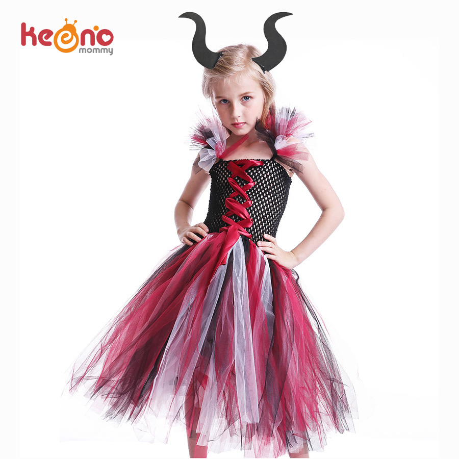 Us 11 7 43 Off Maleficent Evil Queen Girls Tutu Dress Kids Halloween Cosplay Witch Vampire Costume With Horns Children Fancy Party Clothing In