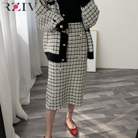 RZIV Spring elegant women skirts casual plaid decorative buttons knit skirt