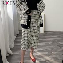 RZIV sonbahar kış zarif kadınlar etekler casual ekose dekoratif düğmeler zarif örgü kazak etek