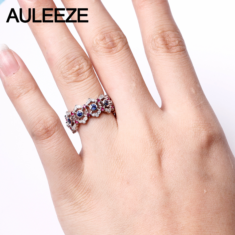 AULEEZE Vintage 0.8cttw Natural Sapphire Weedding Band 18K White ...