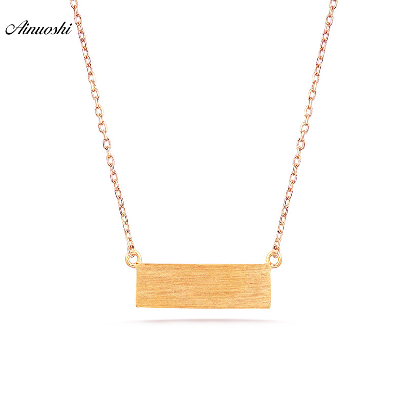 18K Pure Gold Necklace Brush Smooth Finish Square Bar Clavicle Necklace Women Simple Diy Pendant Link Chain Engagement