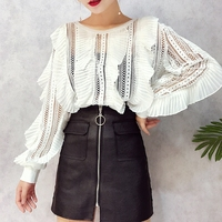 ALPHALMODA Autumn New Lace Blouses Ruffled Striped Hollow Out Sexy Ladies Fashion Shirts White Black Loose